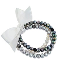 Honora Style Black And Gray Cultured Freshwater Pearl And Crystal Stretch Bracelet Set