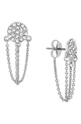 Women's Vince Camuto Pave Disc Stud Ear Chains Silver