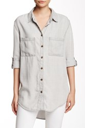 Candc California Vergara Chambray Hi Lo Shirt Gray
