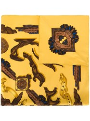 Hermes Vintage Patterned Scarf Yellow And Orange
