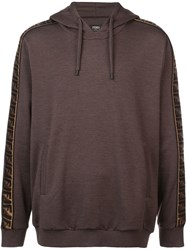 Fendi Ff Side Stripe Hoodie Brown