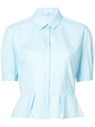 Delpozo Button Up Blouse Women Cotton 38 Blue