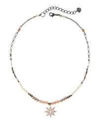 Nakamol Beaded Pave North Star Pendant Necklace Nude