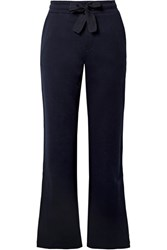 Moncler Cotton Jersey Wide Leg Pants Midnight Blue