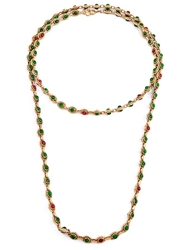 Chanel Vintage Gemstone Embellished Long Necklace Green