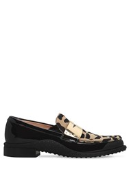 Tod's 20Mm Patent Leather And Pony Skin Loafers Black
