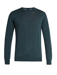 Lanvin Crew Neck Wool And Silk Blend Sweater Green