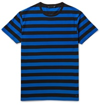 Marc By Marc Jacobs Lucas Striped Cotton Jersey T Shirt Blue