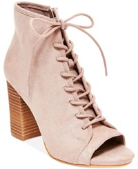 Madden Girl Rytte Lace Up Block Heel Booties Women's Shoes Taupe