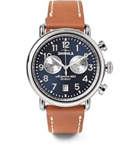 Shinola The Runwell Chronograph 41Mm Stainless Steel And Leather Watch Tan