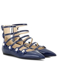 Fendi Embellished Patent Leather Sandals Blue