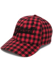 Diesel Gingham Print Baseball Cap Red