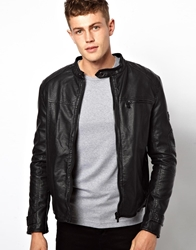 Barney's Originals Barney's Leather Look Biker Jacket Black