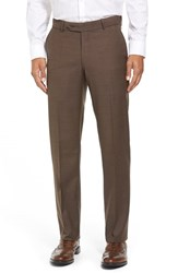 Men's Big And Tall Ballin Flat Front Sharkskin Wool Trousers Chestnut