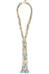 Rosantica Tortuga Tasseled Beaded Gold Tone Necklace One Size