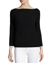 Michael Kors Cashmere 3 4 Sleeve Shaker Sweater Black