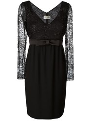 Saint Laurent Floral Lace Panel Dress Black