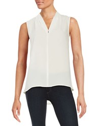 Tahari By Arthur S. Levine Sleeveless Crepe Blouse Ivory White