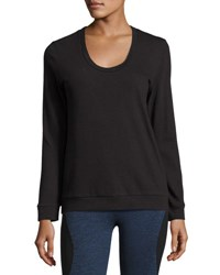 Lanston Strappy Back Long Sleeve Performance Pullover Black