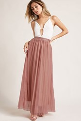 Forever 21 Pleated Tulle Maxi Skirt Mauve