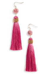 Panacea Tassel Drusy Drop Earrings Magenta