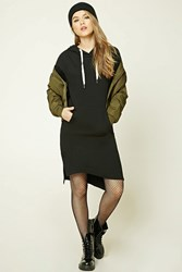 Forever 21 Hooded Fleece Sweater Dress Black