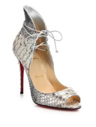 Christian Louboutin Python Embossed Leather Lace Up Peep Toe Pumps Grey