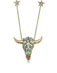 Roberto Cavalli Goldtone Brass Long Necklace W Crystals And Mint Green Beads