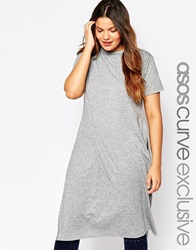 Asos Curve Maxi T Shirt In Nepi With Split Sides Grey
