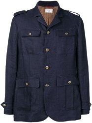 Brunello Cucinelli Straight Fit Military Jacket Blue