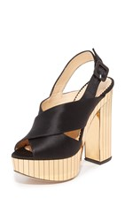 Charlotte Olympia Electra Sandals Black Gold