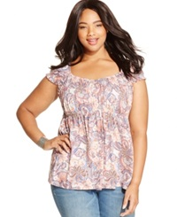 American Rag Plus Size Cap Sleeve Printed Babydoll Top Egret Combo