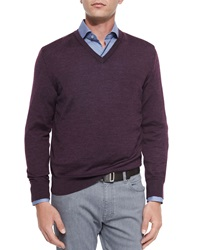 Ermenegildo Zegna Wool Blend V Neck Sweater Purple