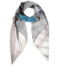 Balenciaga Printed Cotton And Silk Scarf Grey