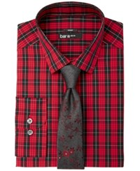 Bar Iii Men's Slim Fit Stretch Easy Care Red Black Macleod Dress Tartan Dress Shirt Created For Macy's