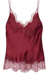 Carine Gilson Lace Trimmed Silk Satin Camisole Claret