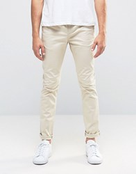 Asos Skinny Chinos In Beige Cement Marl Grey
