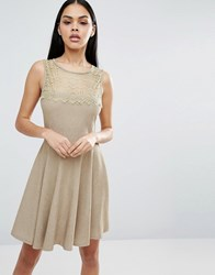 Pussycat London Skater Dress Beige