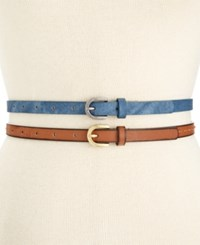 Styleandco. Style And Co. Denim And Stitched 2 For 1 Skinny Belts Only At Macy's Denim Cognac