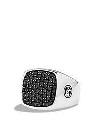 David Yurman Pave Signet Ring With Black Diamonds Silver Black