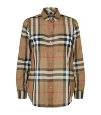 Burberry House Check Cotton Shirt Female Camel