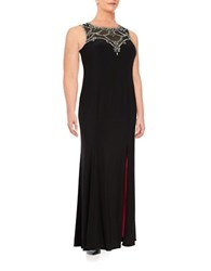 Betsy And Adam Embellished Illusion Gown Blackberry