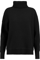 Iris And Ink Edie Felt Paneled Wool Turtleneck Sweater Black