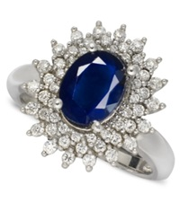 Macy's 14K White Gold Ring Sapphire 2 1 5 Ct. T.W. And Diamond 1 2 Ct. T.W. Oval Blue
