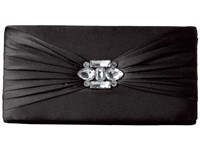 Jessica Mcclintock Francesca Satin Brooch Clutch Black Clutch Handbags