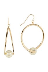 14Th And Union Front Simulated Pearl Twist Hoop Earrings White