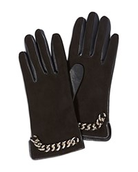 Karen Millen Leather Chain Gloves Black