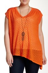 Halo Asymmetrical Open Knit Tee With Necklace Plus Size Orange