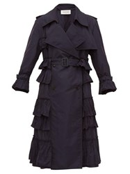 Valentino Ruffled Technical Trench Coat Navy