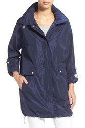 Ellen Tracy Packable A Line Raincoat Blue